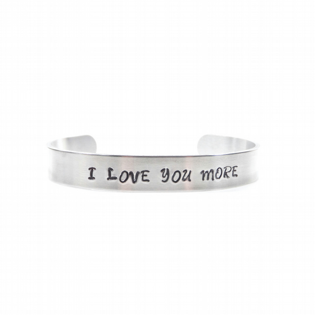 Hand Stamped I Love You More Bracelet Bangle – Gift Boxed