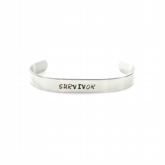 Hand Stamped Survivor Bracelet Bangle – Gift Boxed