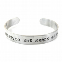 Hand Stamped She believed she could so she did Bracelet Bangle – Gift Boxed