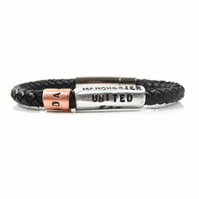 Unique Personalised Manchester United No 1 Fan Leather Bracelet – Gift Boxed