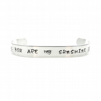Hand Stamped You are my Sunshine Bracelet Bangle – Gift Boxed
