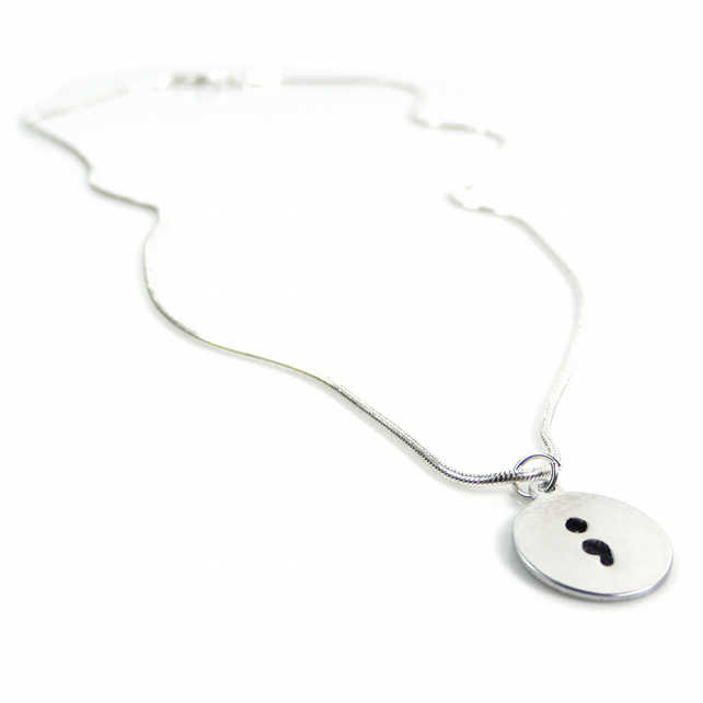Hand Stamped Circle Shaped Semicolon Necklace – Gift Boxed