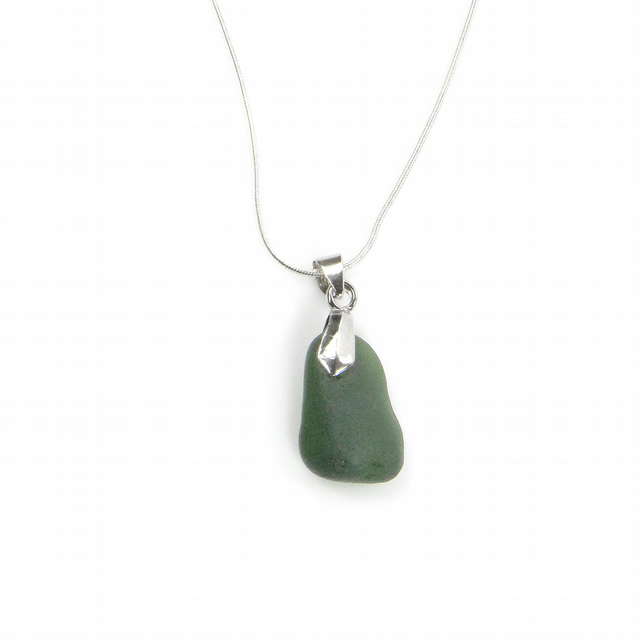 Handmade Green Cornish Sea Glass Necklace on Silver Plated Chain - Gift Boxed