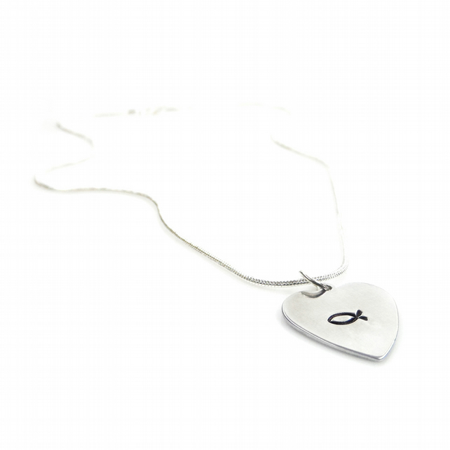 Hand Stamped Heart Shaped Christian Fish Necklace – Gift Boxed