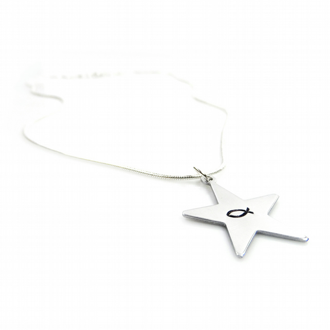 Hand Stamped Star Shaped Christian Fish Necklace – Gift Boxed