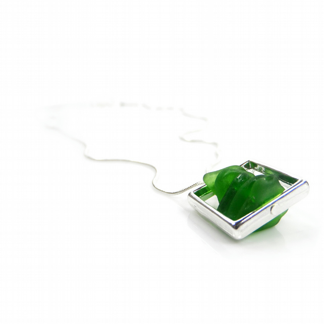 Handmade Silver Plated Necklace - Green Cornish Sea Glass in a Silver Frame - Gi