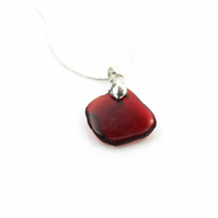 Red Sea Glass Necklace on Silver Plated Bail and Chain – Gift Boxed