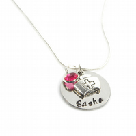 Personalised Name Necklace with Nurse Charm and Birthstone - Gift Boxed
