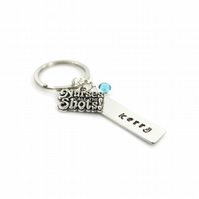 Personalised Nurses Call the Shots Keyring with Birthstone Charm - Gift Boxed