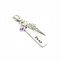 Personalised Registered Nurse Handbag Charm Clip with Birthstone - Gift Boxed
