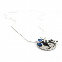 Personalised Dolphin Necklace with Birthstone Charm - Gift Boxed