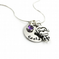 Personalised Monkey Necklace with Birthstone Charm - Gift Boxed