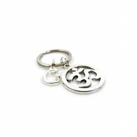 Ohm Charm Keyring with Silver Letter Charm - Gift Boxed