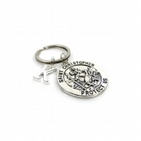 St Christopher Charm Keyring with Silver Letter Charm - Gift Boxed