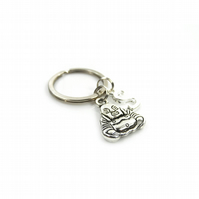 Buddha Charm Keyring with Silver Letter Charm - Gift Boxed