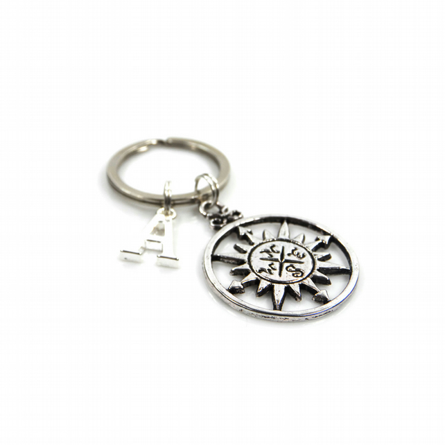 Compass Charm Keyring with Silver Letter Charm - Gift Boxed