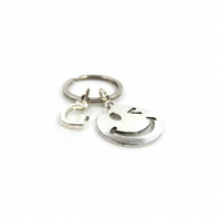 Emoji Charm Keyring with Silver Letter Charm - Gift Boxed