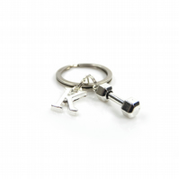 Dumbbell Charm Keyring with Silver Letter Charm - Gift Boxed