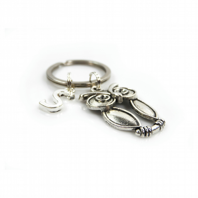 Owl Charm Keyring with Silver Letter Charm - Gift Boxed