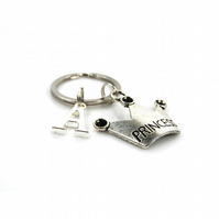 Princess Charm Keyring with Silver Letter Charm - Gift Boxed