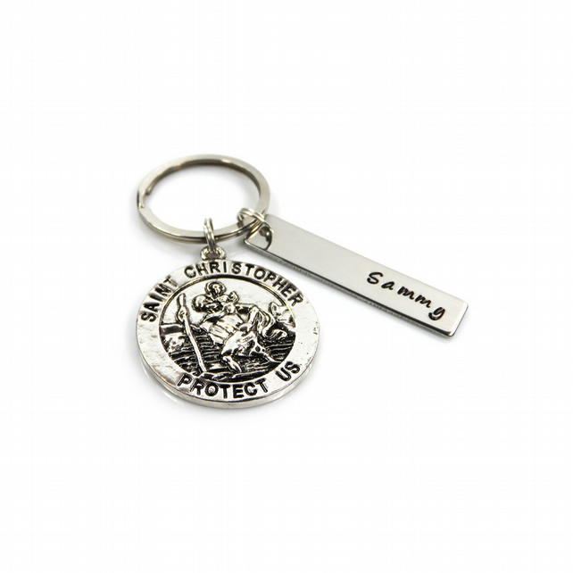 St Christopher Keyring with Personalised Name Tag - Gift Boxed