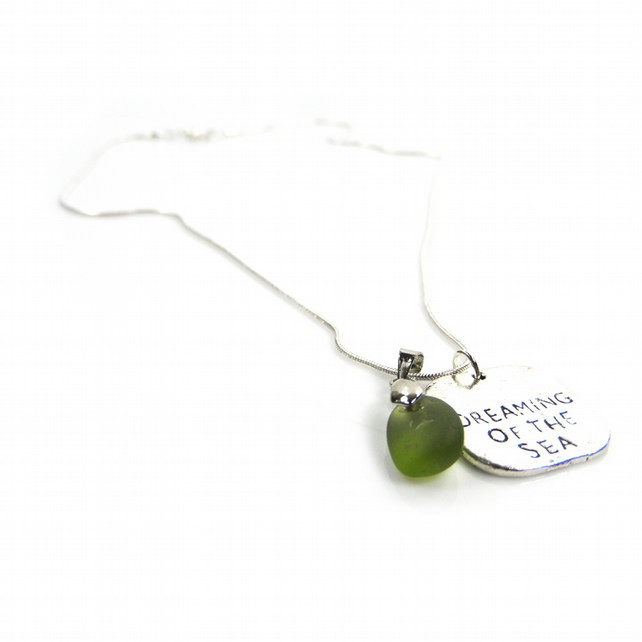 Silver Plated Dreaming of the Sea Necklace with Cornish Sea Glass - Gift Boxed