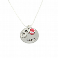 Personalised 5th Birthday Birthstone Necklace - Gift Boxed