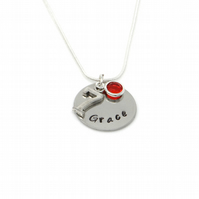 Personalised 7th Birthday Birthstone Necklace - Gift Boxed