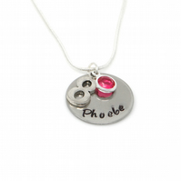 Personalised 8th Birthday Birthstone Necklace - Gift Boxed