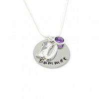 Personalised 10th Birthday Birthstone Necklace - Gift Boxed
