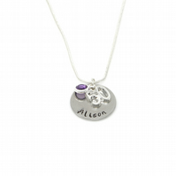 Personalised 50th Birthday Birthstone Necklace - Gift Boxed