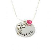 Childs Personalised Name Necklace with Fairy Angel and Birthstone - Gift Boxed