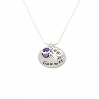Personalised 16th Birthday Birthstone Necklace - Gift Boxed