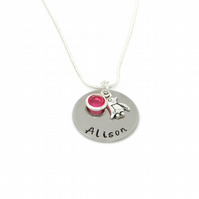 Personalised Penguin Necklace with Birthstone Charm - Gift Boxed
