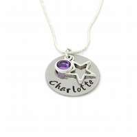 Childs Personalised Name Necklace with Star Charm and Birthstone - Gift Boxed