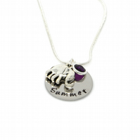 Personalised Elephant Necklace with Birthstone Charm - Gift Boxed