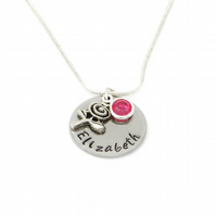 Personalised Name Necklace with Rose Charm and Birthstone - Gift Boxed
