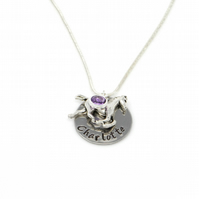 Childs Personalised Name Necklace with Horse Charm and Birthstone - Gift Boxed