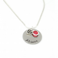 Personalised Name Necklace with Swirl Heart Charm and Birthstone - Gift Boxed