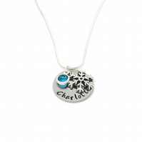 Personalised Frozen Snowflake Necklace with Birthstone Charm - Gift Boxed