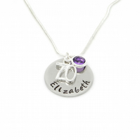 Personalised 70th Birthday Birthstone Necklace - Gift Boxed
