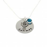 Personalised Celtic Cross Necklace with Birthstone Charm - Gift Boxed