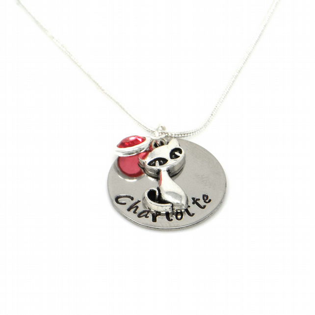 Personalised Cat Pendant Necklace with Birthstone Charm - Gift Boxed