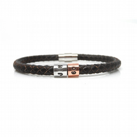 60th Birthday Personalised Leather Bracelet – Gift Boxed