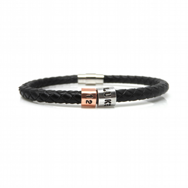 12th Birthday Personalised Leather Bracelet – Gift Boxed