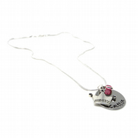 Personalised Princess Pendant Necklace with Birthstone Charm - Gift Boxed