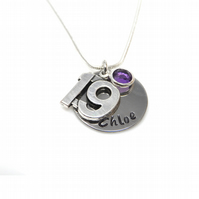Personalised 19th Birthday Birthstone Necklace - Gift Boxed