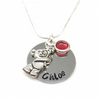 Childs Personalised Name Necklace with Teddy Bear and Birthstone - Gift Boxed