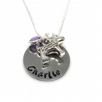 Personalised Dog Pendant Necklace with Birthstone Charm - Gift Boxed