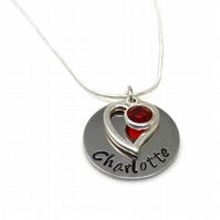 Personalised Name Necklace with Love Heart Charm and Birthstone - Gift Boxed